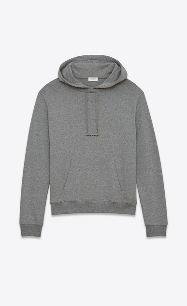 SAINT LAURENT Sportswear Tops Man Hoodie with SAINT LAURENT square in gray cotton fleece a_V4