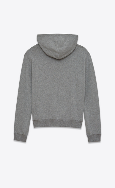 SAINT LAURENT Sportswear Tops Man Hoodie with SAINT LAURENT square in gray cotton fleece b_V4