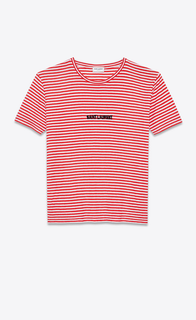 SAINT LAURENT T-Shirt e Jersey U T-shirt SAINT LAURENT in jersey a righe rossa e bianca a_V4