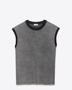 SAINT LAURENT T-Shirt and Jersey U Sleeveless T-shirt in faded gray and black jersey f