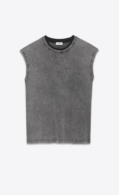 SAINT LAURENT T-Shirt and Jersey U Sleeveless T-shirt in faded gray and black jersey a_V4