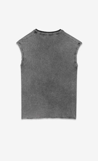 SAINT LAURENT T-Shirt and Jersey U Sleeveless T-shirt in faded gray and black jersey b_V4