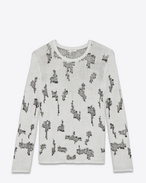 SAINT LAURENT Cashmere Tops U Sweater with resewn motifs in black and white cashmere f