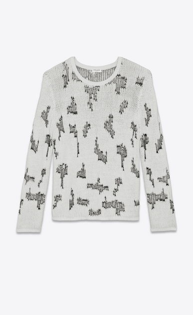 SAINT LAURENT Cashmere Tops Man Sweater with resewn motifs in black and white cashmere a_V4
