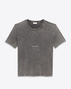 SAINT LAURENT T-Shirt and Jersey U Worn-look T-shirt with Saint Laurent square in faded black jersey f
