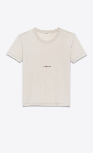 SAINT LAURENT T-Shirt and Jersey U Worn-look T-shirt with Saint Laurent square in light pink jersey a_V4