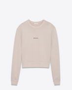 SAINT LAURENT Top Sportivi U Sweatshirt with SAINT LAURENT square in light pink worn-look cotton fleece f
