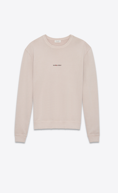 SAINT LAURENT Sportswear Tops Man Sweatshirt with SAINT LAURENT square in light pink worn-look cotton fleece a_V4