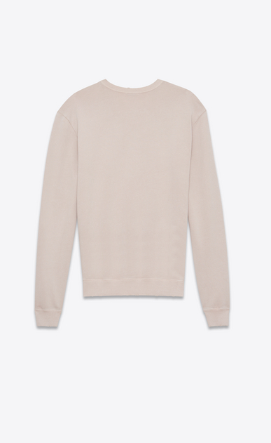 SAINT LAURENT Sportswear Tops Man Sweatshirt with SAINT LAURENT square in light pink worn-look cotton fleece b_V4
