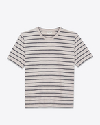 SAINT LAURENT T-Shirt and Jersey U Striped T-shirt in gray and white jersey f