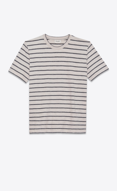 SAINT LAURENT T-Shirt and Jersey U Striped T-shirt in gray and white jersey a_V4
