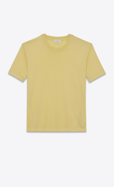SAINT LAURENT T-Shirt and Jersey U Fitted SL t-shirt in yellow cotton jersey a_V4
