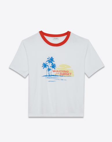 SAINT LAURENT Waiting For The Sunset Crew Neck T-Shirt In White