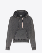 SAINT LAURENT Top Sportivi U Hoodie in faded-look black cotton fleece with tie-dye drawstring f