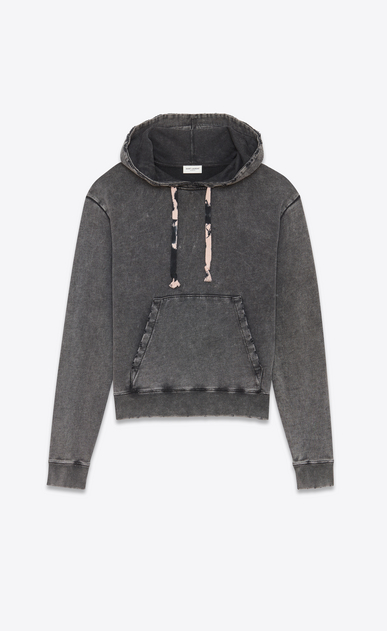 SAINT LAURENT Sportswear Tops Man Hoodie in faded-look black cotton fleece with tie-dye drawstring a_V4