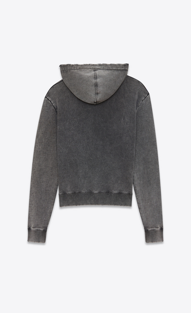SAINT LAURENT Sportswear Tops Man Hoodie in faded-look black cotton fleece with tie-dye drawstring b_V4