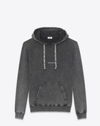 SAINT LAURENT Top Sportivi U Hoodie with SAINT LAURENT square in black worn-look cotton fleece f