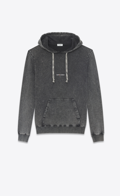 SAINT LAURENT Sportswear Tops Man Hoodie with SAINT LAURENT square in black worn-look cotton fleece a_V4
