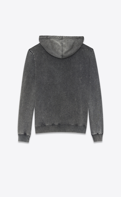 SAINT LAURENT Sportswear Tops Man Hoodie with SAINT LAURENT square in black worn-look cotton fleece b_V4