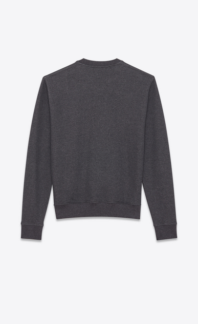 SAINT LAURENT Sportswear Tops Man Sweatshirt printed with SAINT LAURENT ECLAIR in gray cotton fleece b_V4