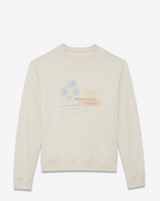 SAINT LAURENT Top Sportivi U SUNSET-embroidered sweatshirt in off-white cotton fleece f