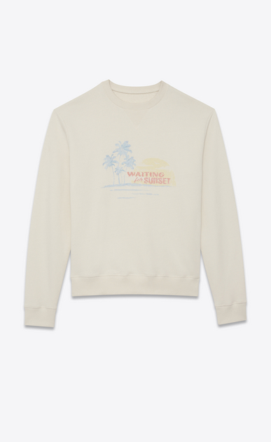 SAINT LAURENT Sportswear Tops Man SUNSET-embroidered sweatshirt in off-white cotton fleece a_V4