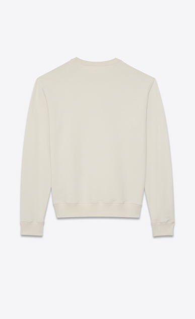 SAINT LAURENT Sportswear Tops Man SUNSET-embroidered sweatshirt in off-white cotton fleece b_V4