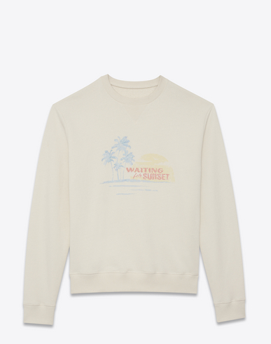 Waiting For The Sunset Embroidered Crew Neck Jersey Sweater In Ivory in Neutrals