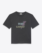 SAINT LAURENT T-Shirt and Jersey U T-shirt in black jersey printed with SAINT LAURENT lightning bolt f