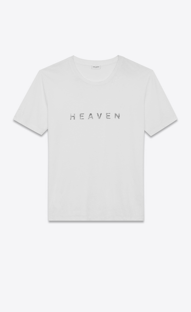 SAINT LAURENT T-Shirt and Jersey U T-shirt in white jersey printed with HEAVEN. a_V4