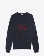 SAINT LAURENT Cashmere Tops U SL sweater in navy blue and burgundy cashmere f