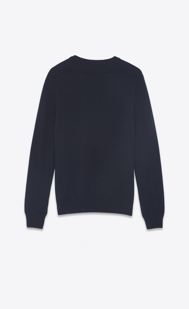 SAINT LAURENT Cashmere Tops Man SL sweater in navy blue and burgundy cashmere b_V4