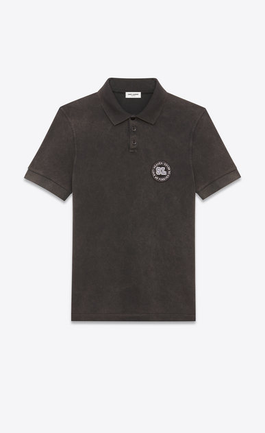 SAINT LAURENT Polos U Polo shirt with badge in faded-look black cotton pique a_V4