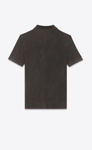 SAINT LAURENT Polos U Polo shirt with badge in faded-look black cotton pique b_V4