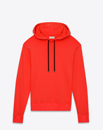 SAINT LAURENT Top Sportivi U Red cotton fleece hoodie with black drawstring f