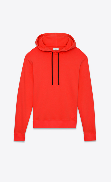 SAINT LAURENT Sportswear Tops Man Red cotton fleece hoodie with black drawstring a_V4