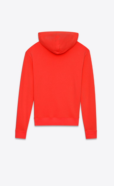 SAINT LAURENT Sportswear Tops Man Red cotton fleece hoodie with black drawstring b_V4