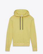 SAINT LAURENT Top Sportivi U Yellow cotton fleece hoodie with black drawstring f