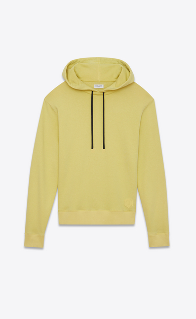 SAINT LAURENT Sportswear Tops Man Yellow cotton fleece hoodie with black drawstring a_V4