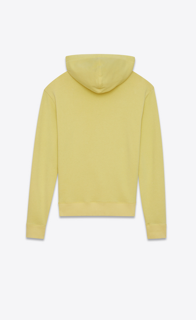 SAINT LAURENT Sportswear Tops Man Yellow cotton fleece hoodie with black drawstring b_V4