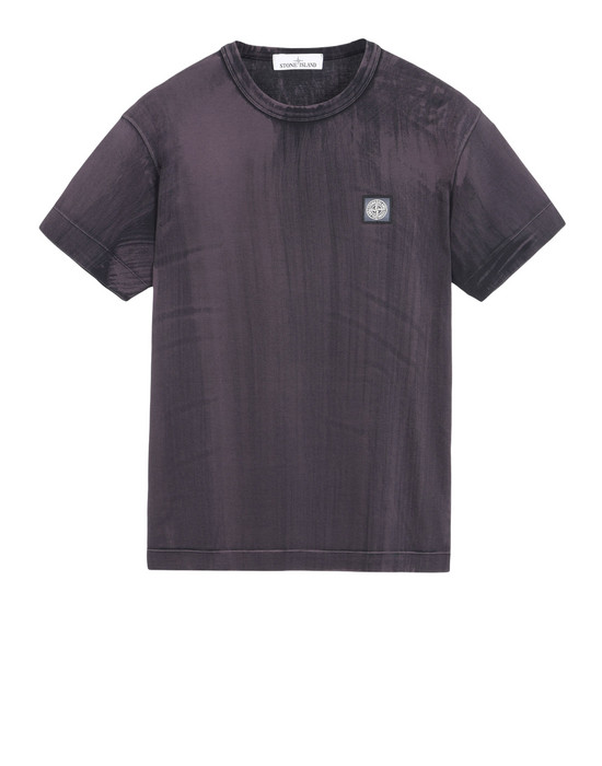 STONE ISLAND T-SHIRT A MANICHE CORTE 23966 HAND BRUSHED COLOUR TREATMENT