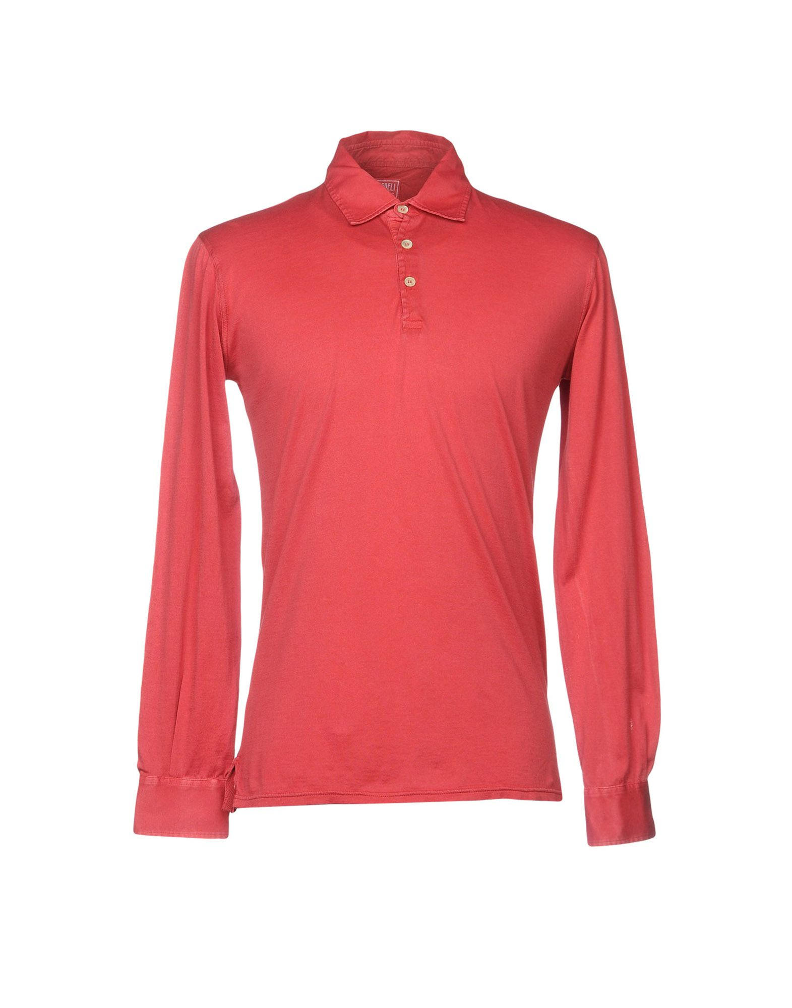FEDELI メンズ ポロシャツ レッド 48 コットン 100%