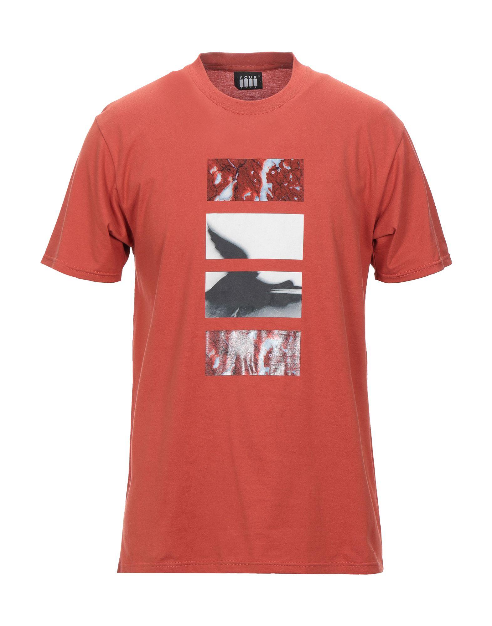 《送料無料》FOUR EVER メンズ T シャツ 赤茶色 S コットン 100%