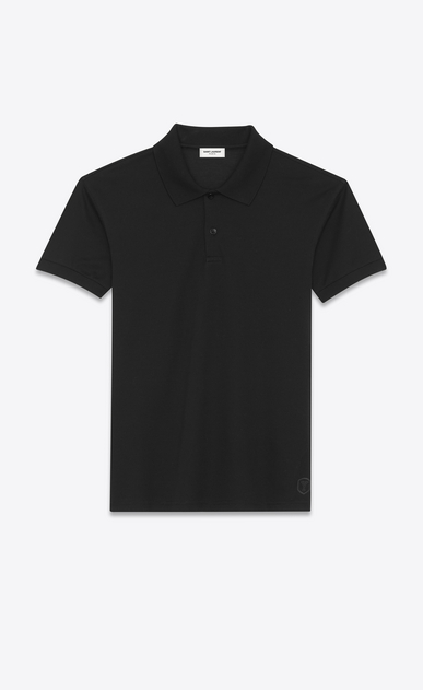 SAINT LAURENT Polos Man Y blazon polo shirt in black piqué cotton a_V4
