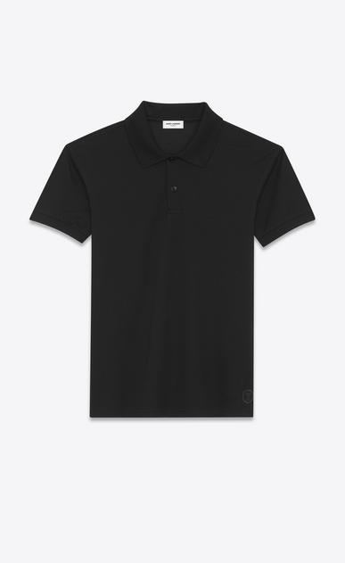 SAINT LAURENT Polos Herren Y Blazon Poloshirt aus schwarzem Baumwollpiqué a_V4