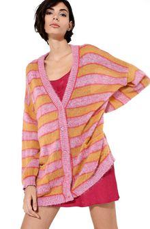 ALBERTA FERRETTI Maxi cardigan with yellow stripes Cardigan Woman a
