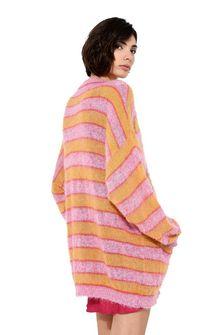 ALBERTA FERRETTI Maxi cardigan with yellow stripes Cardigan Woman d