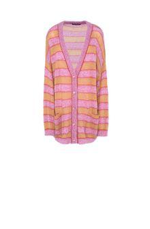 ALBERTA FERRETTI Maxi cardigan with yellow stripes Cardigan Woman e