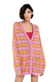 ALBERTA FERRETTI Maxi cardigan with yellow stripes Cardigan Woman r