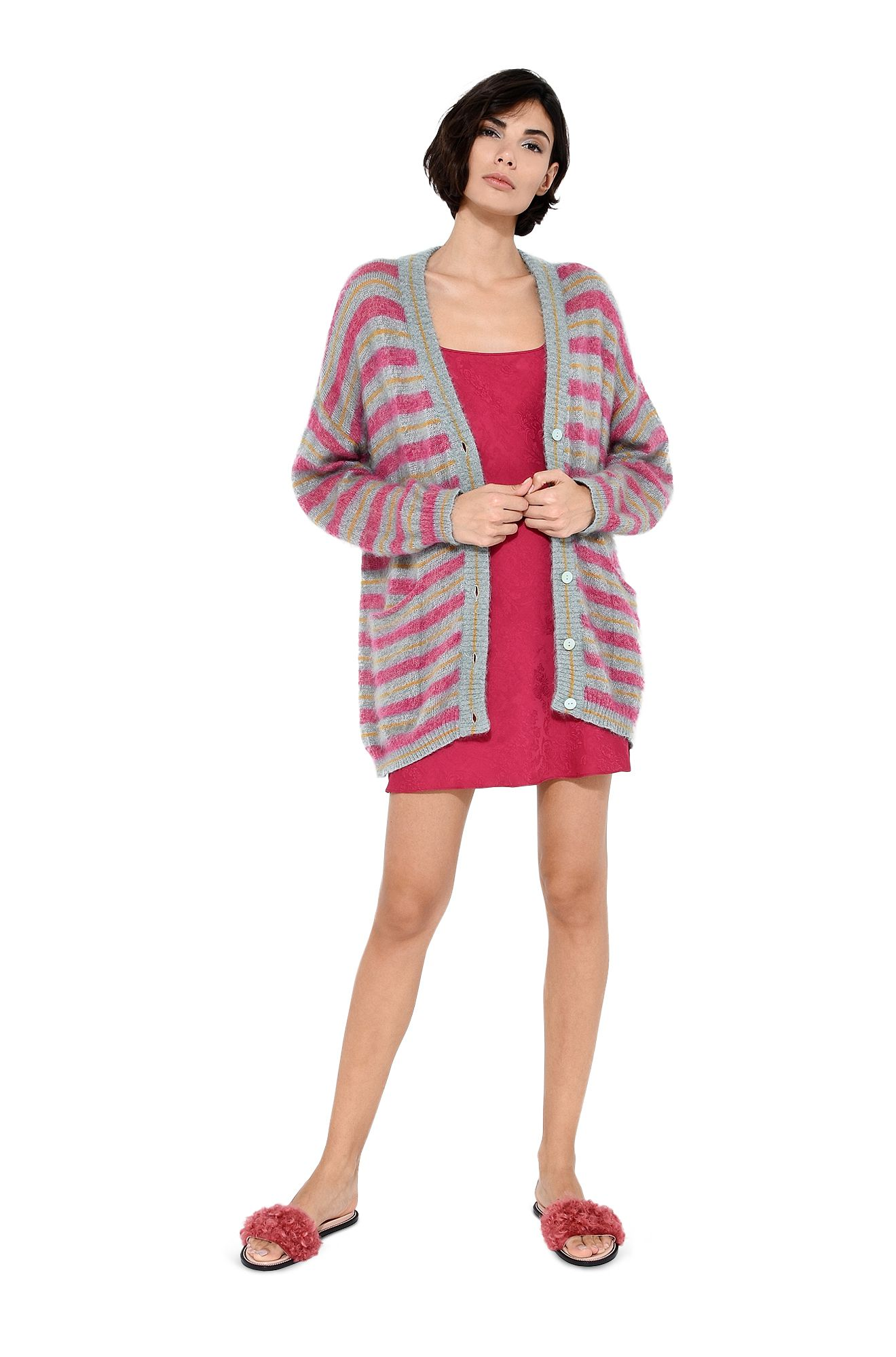 Maxi cardigan with fuchsia stripes